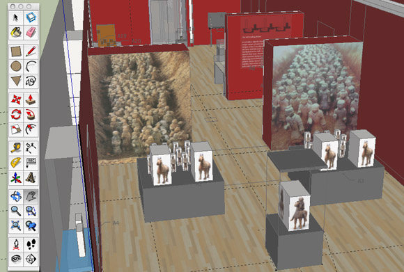 Screenshot of the early exhibition design