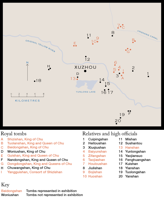 Map showing the location of the tombs